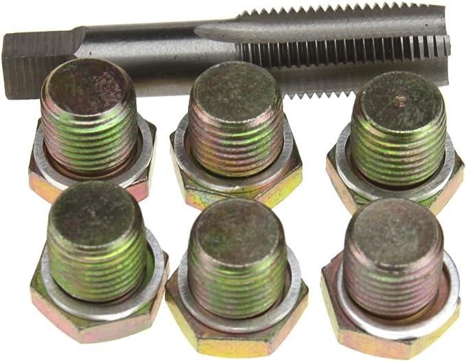 reparaci/ón de roscas de caja de cambios del c/árter M13 M15 M17 M20 M22 herramientas de kit de reparaci/ón de tap/ón de drenaje Kit de reparaci/ón de rosca de c/árter de aceite de 114 piezas