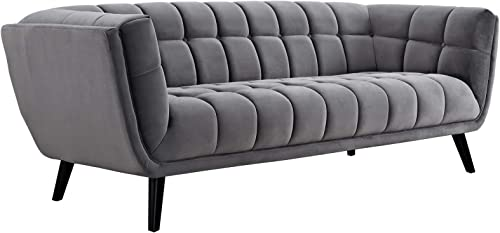 Modway Bestow Mid-Century Performance Velvet Upholstered Tufted Sofa In Gray