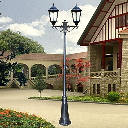 Candelabros Lámpara de exterior E27 vintage de 2 brazos, aluminio negro y pantalla de vidrio, altura 230CM Lámparas de mástil Iluminación de jardín Lámpara de camino Villa Faroles exteriores: Amazon.es: Iluminación