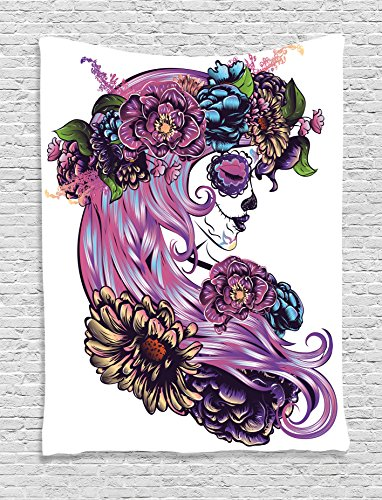 Ambesonne Gothic Decor Collection, Day of the Dead Illustration with Sugar Skull Girl in Decorative Flower Wreath Print, Bedroom Living Room Dorm Wall Hanging Tapestry, Blue Purple - Pink Sugar Skull Art