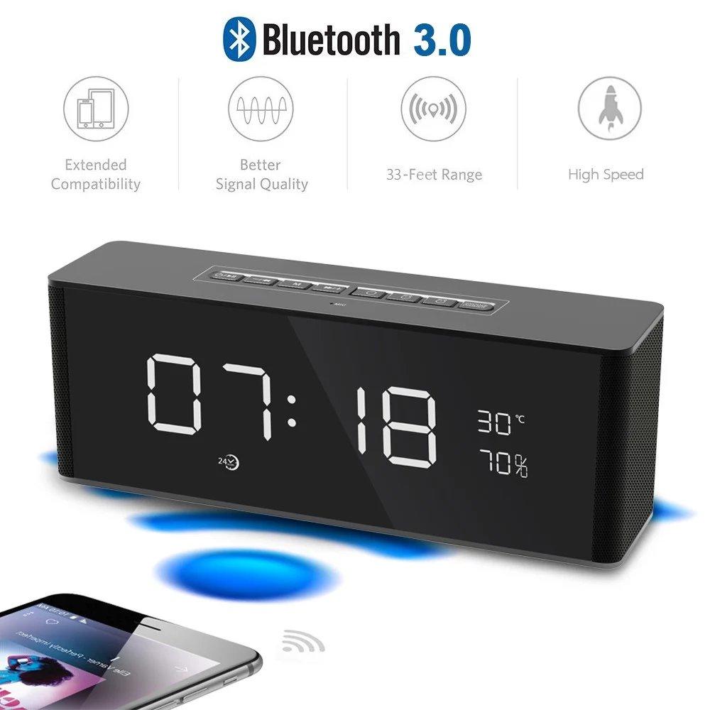 Multifunctional Desktop Wireless Bluetooth Speaker with Temperature Display, Phone Smart Speaker with USB Charging Ports LED Alarm Clock FM Radio Hands-free Calling Function, Black