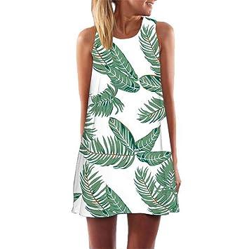 2c93be5a60 Vestido retro Vestidos con estampado de hojas Sin mangas Cuello redondo  Vestidos de playa Vestido suelto informal Vestidos de verano de moda  Vestidos ...