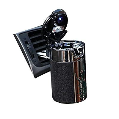 Alotm Cigarette Ashtray Portable Auto Smokeless Tobacco Tray with Car Travel LED Blue Light Air Vent Cup Holder (Black): Home & Kitchen