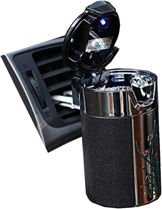 Alotm Cigarette Ashtray Portable Auto Smokeless Tobacco Tray with Car Travel LED Blue Light Air Vent Cup Holder (Black)