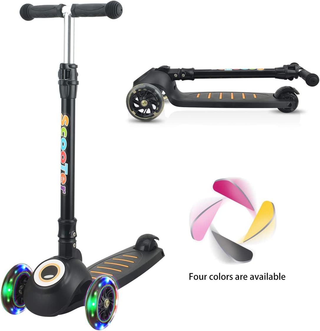 Kick Scooter for Kids, 3 Wheel Scooter for Toddlers Girls Boys with Folding T-Bar, 4 Adjustable Height and Flashing PU Wheels, Lean to Steer for Children from 2-14 Year-Old