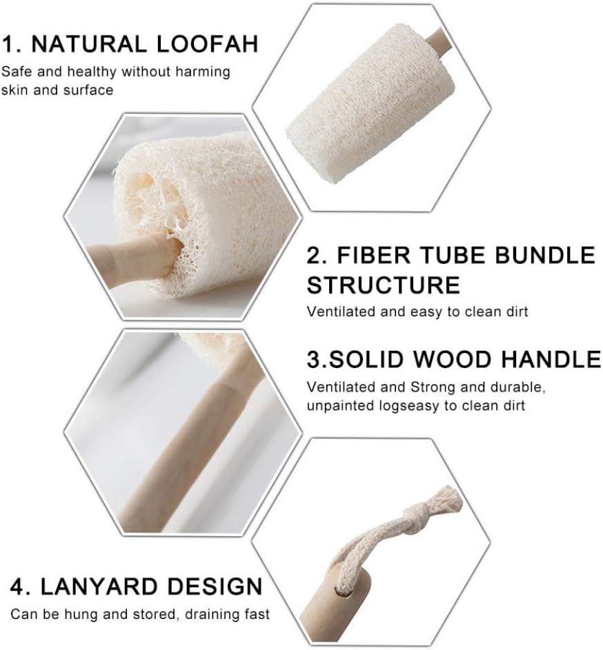 Homemust Wooden Handle Hanging Loofah Cup Brush Can Be Hanging Loofah Cup Brush Cleaning