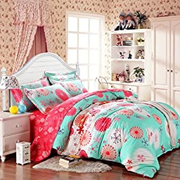 SAYM Home Bedding Sets Elegant Rural Style Print Set For Lovely Teen Girls 100% Polyester Fiber Duvet Cover, Flat Sheet, Shams Set 4Pieces Queen Green