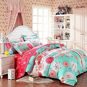 SAYM Home Bedding Sets Elegant Rural Style Print Set For Lovely Teen Girls 100% Polyester Fiber Duvet Cover, Flat Sheet, Shams Set 4Pieces Full Green