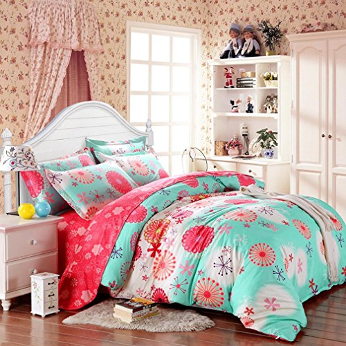 Amazon.com: SAYM Home Bedding Sets Elegant Rural Style Print Twin Size Set  For Lovely Teen Girls 100% Polyester Fiber Duvet Cover, Flat Sheet, ...