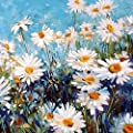 Adarl Diy Oil Painting Paint By Number Kit Image Drawing On Canvas By Hand Coloring Arts Crafts Sewing New White Daisies