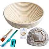 "Banneton Proofing Basket 10"" Round Banneton Brotform for Bread and Dough [Free Brush] Proofing Rising Rattan Bowl(1000g Dough) + Free Liner + Bread Lame"