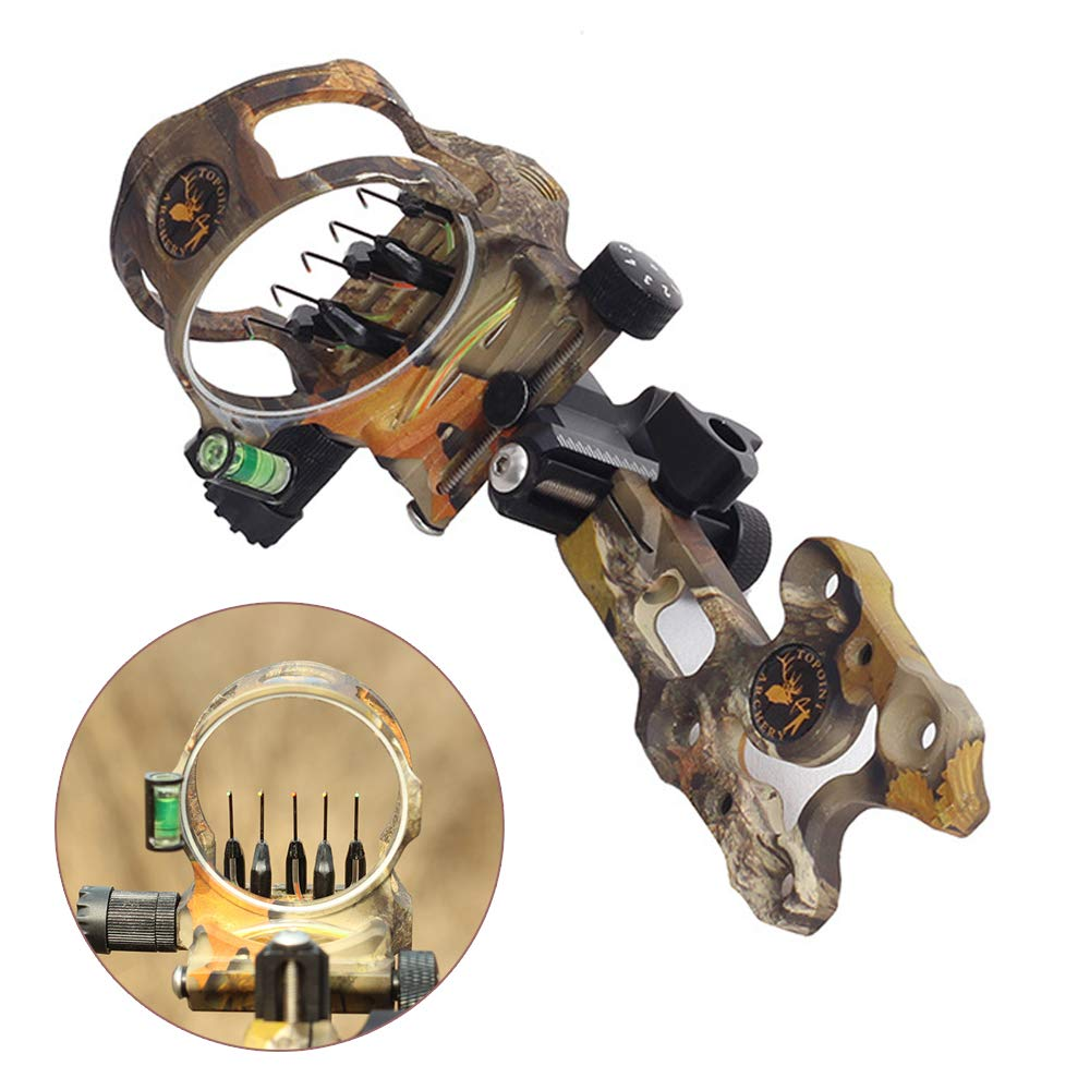 ZSHJG Archery Bow Sight 5 Pin 0.019 Optical Fiber Retinal Sight CNC Aluminum Horizontal Vertical Adjustment for Compound Bow Sight Accessory (Short Camo) by ZSHJG