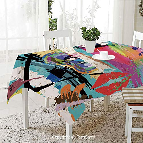 (AmaUncle 3D Print Table Cloths Cover Woman Face Art Composition with Paint Strokes and Splashes Eye Red Lips Grungy Decorative Resistant Table Toppers (W60 xL84))