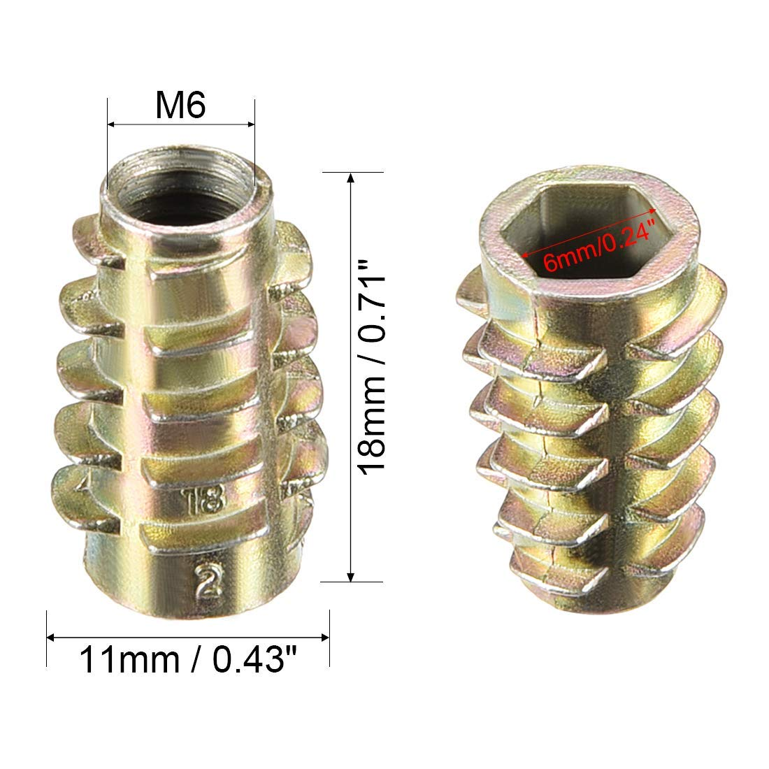 10pcs M6x18mm Threaded Insert Nuts Zinc Alloy Hex-Flush M6 Internal Threads 18mm Length