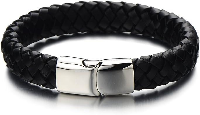 large bracelet cuir homme