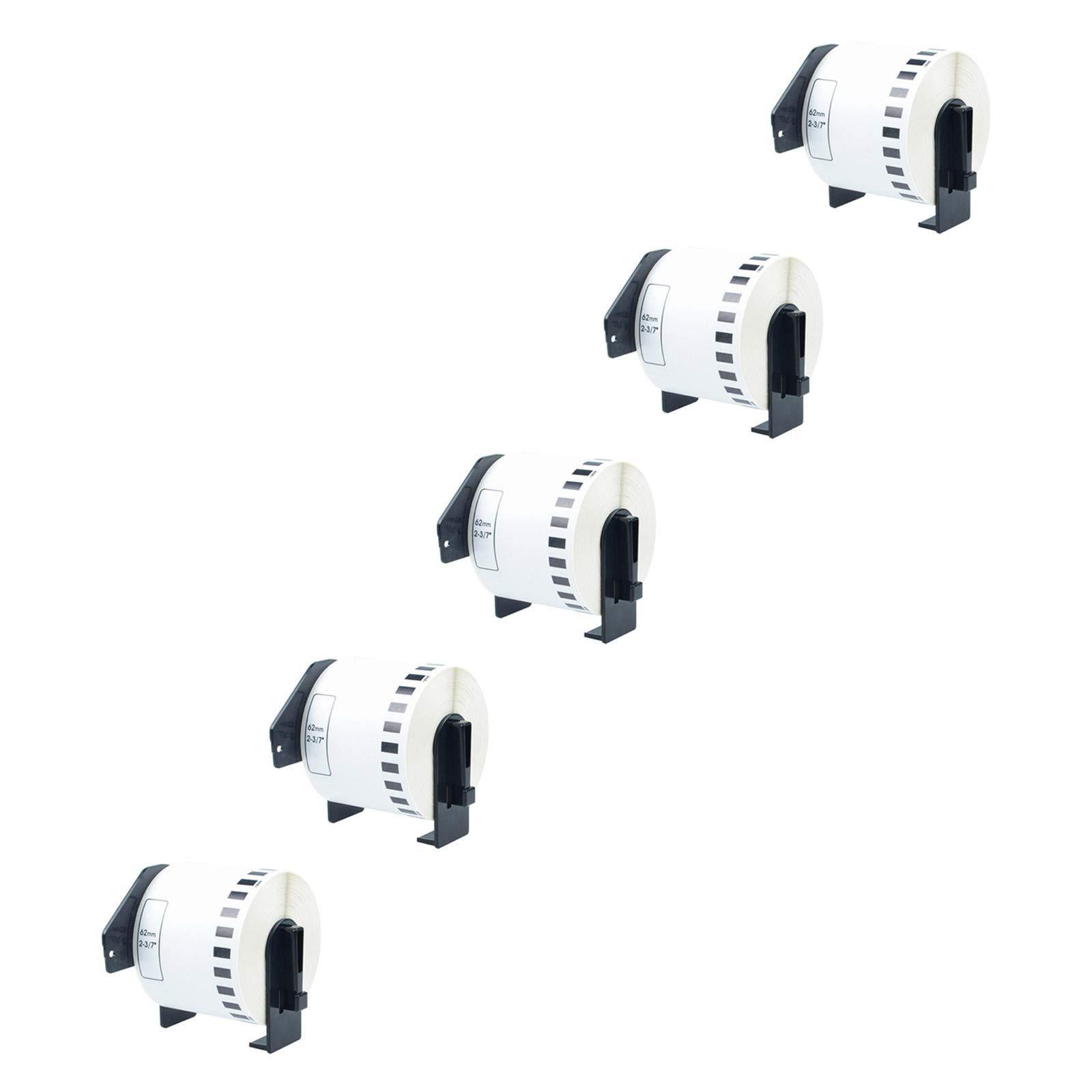 KCYMTONER 5 Roll of Compatible Brother DK-2205 DK2205 White Label Continuous Paper 62mm x 30.48M 2-3/7'' x 100' for P-Touch Q Touch QL-500 QL-570 QL-650 QL710W QL720 QL-1050N QL-1060 Series Printer