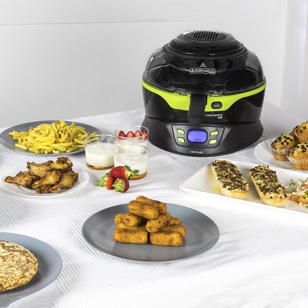 Cecotec Turbo CecoFry 4D Freidora Dietetica sin Aceite, 8 Menús Ajustables en Tiempo y Temperatura (100-240ºC), Cocina a 2 niveles, Pala Mezcladora, ...