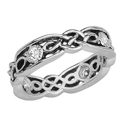 Amazon.com: Elegante anillo de boda de plata de ley y ...