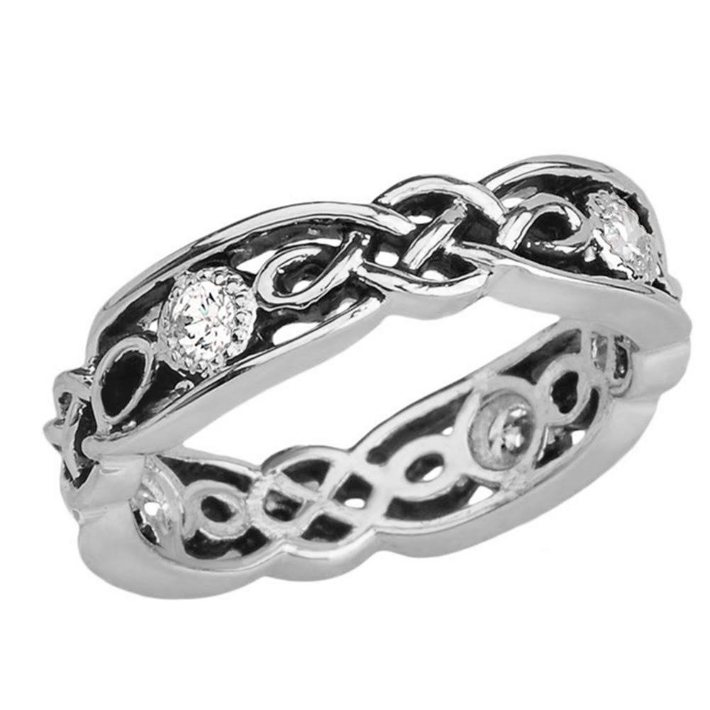 Elegant Black and Sterling Silver CZ Vintage Celtic Knot Wedding Band (Size 5.5)