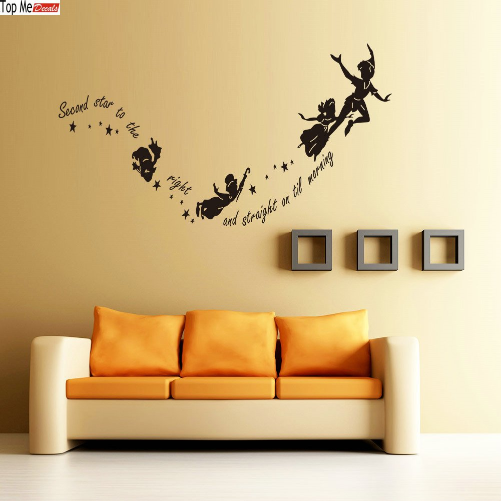 peter pan second star to the right wall sticker nursery kids peter pan second star to the right wall sticker nursery kids bedroom vinyl decal amazon com