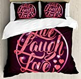 Ambesonne Live Laugh Love Duvet Cover Set King Size, Hearts and Bokeh Background with Positive Drive Boosting Quote, Decorative 3 Piece Bedding Set with 2 Pillow Shams, Salmon Dark Purple Red