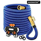 maswater 50ft Garden Hose - Upgraded 2019 Expandable Water Hose with Double Latex Core, 3/4' Solid Brass Connectors, 2-Way Pocket Flexible Splitter, Extra Strength Fabric Flexible Expanding