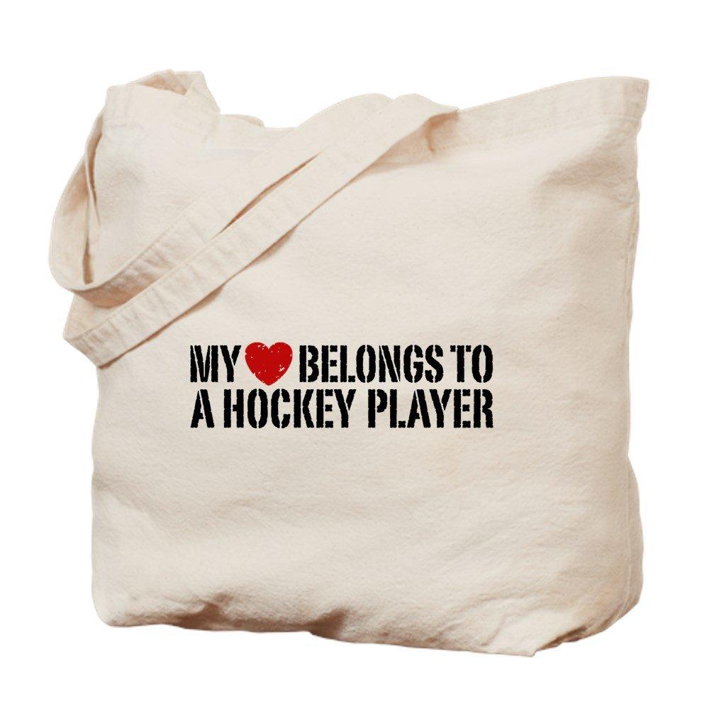 CafePress – My Heart Belongs to a Hockey Player – ナチュラルキャンバストートバッグ、布ショッピングバッグ B06XYTC1VG
