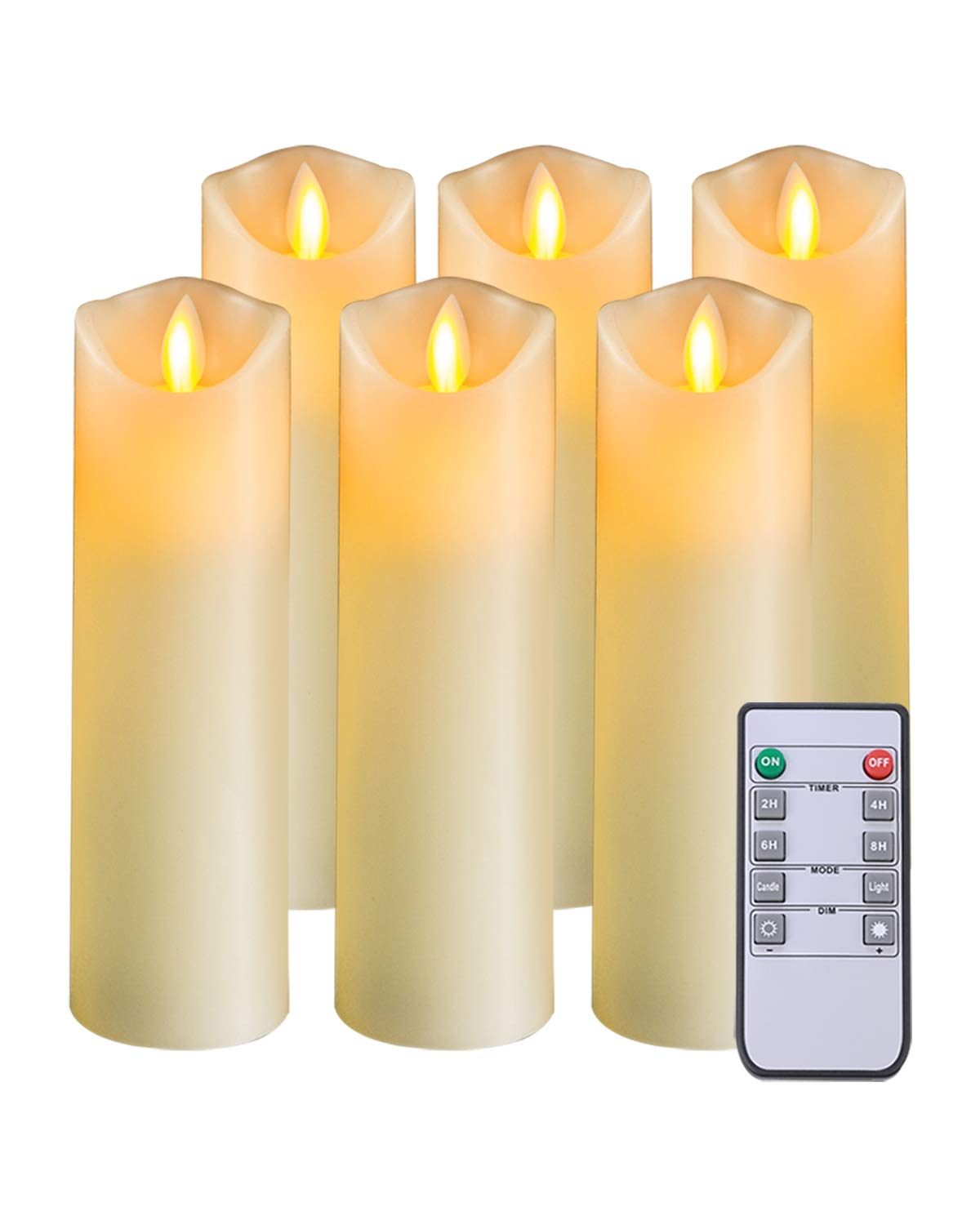 5PLOTS Flameless Candles with Remote and Timer (H7'' x D2.2'') - Flickering LED Pillar Candles with Dancing Flame - Battery Operated, Ivory Wax, Set of 6