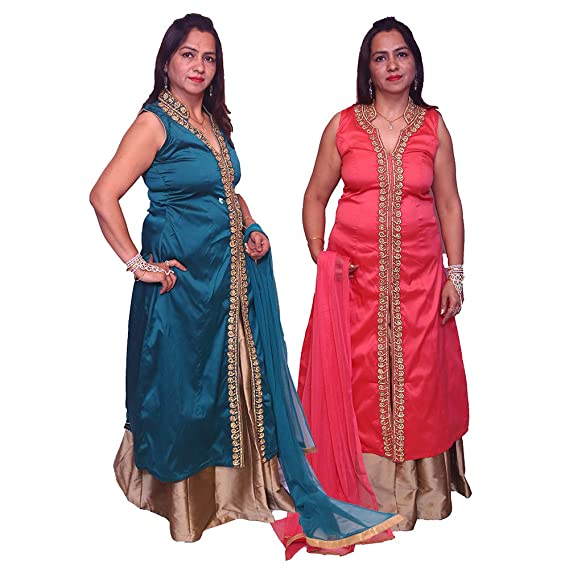 e279dbd11cac paridhanlok Women's Silk Stitched Party Wear Indo Western Long Top with  Skirt (Free Size) -Combo of 2: Amazon.in: Clothing & Accessories