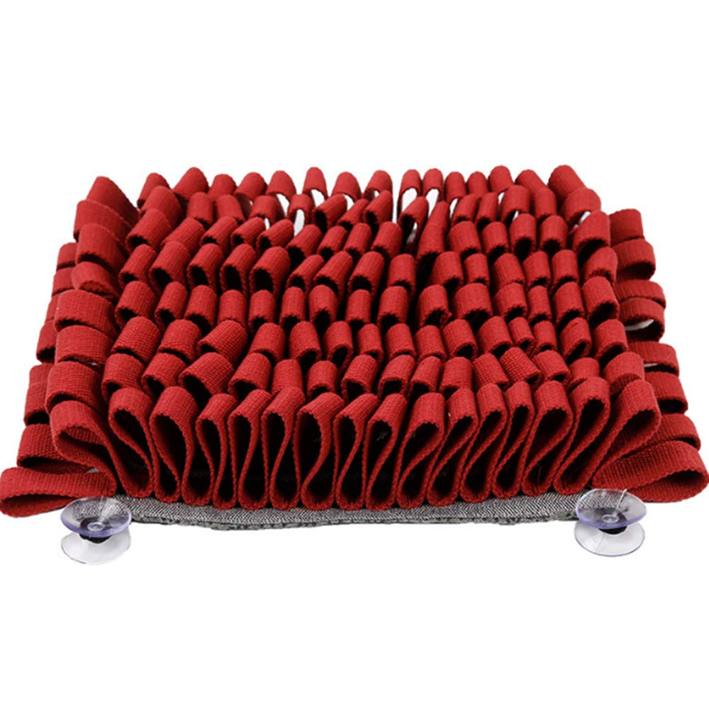 Dog Snuffle Mat, Dog Sniffing Pad Soft Pet Nose Work Smell Snuffle Mat,Training Feeding Foraging Skill Blanket Dog Play Mats Puzzle Toys,Red