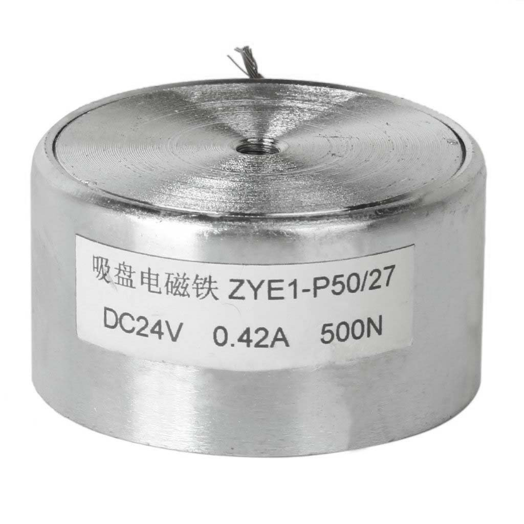 DC 24V Holding Electro-Magnet Lifting Solenoid P50//27 with Wire Silver 50mm