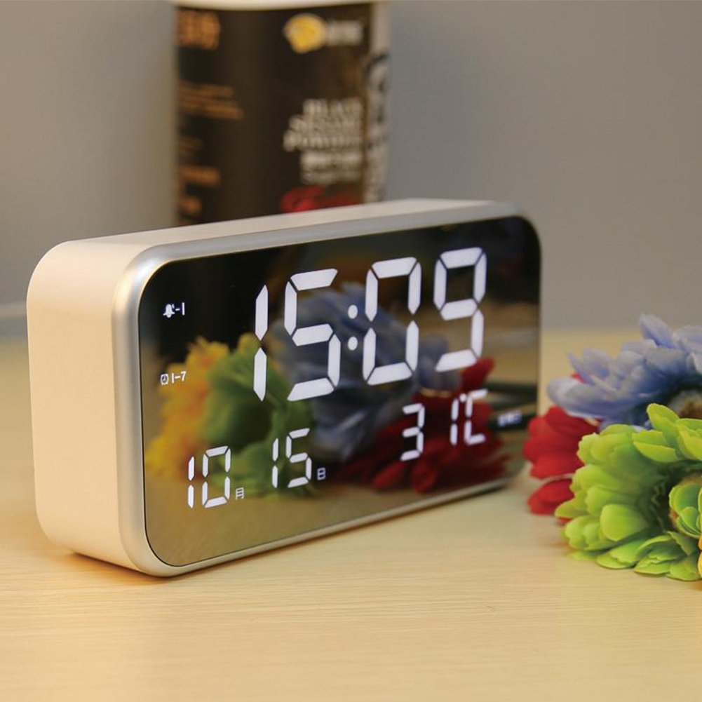 Hankyky LED Digital Alarm Clock, 25 Song 3 Weeday Brightness Set Date Temperature Display
