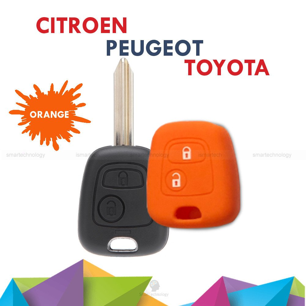 Toyota Aygo Colourful Soft Silicone Material Shell for 2 Button Car Key 10/Great Colours arancio Key Cover