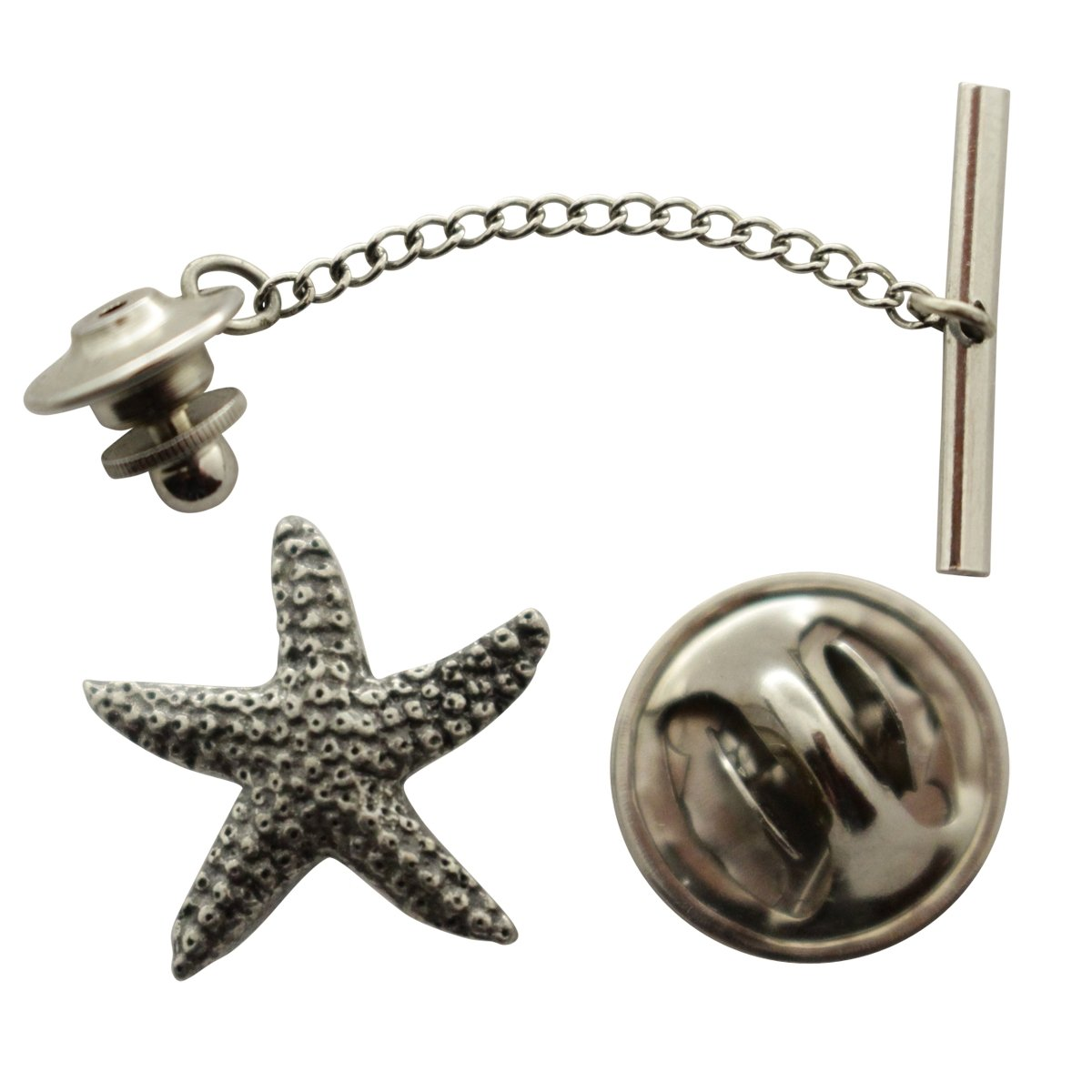 Starfish Tie Tack ~ Antiqued Pewter ~ Tie Tack or Pin ~ Sarah's Treats & Treasures by Sarah's Treats & Treasures (Image #1)