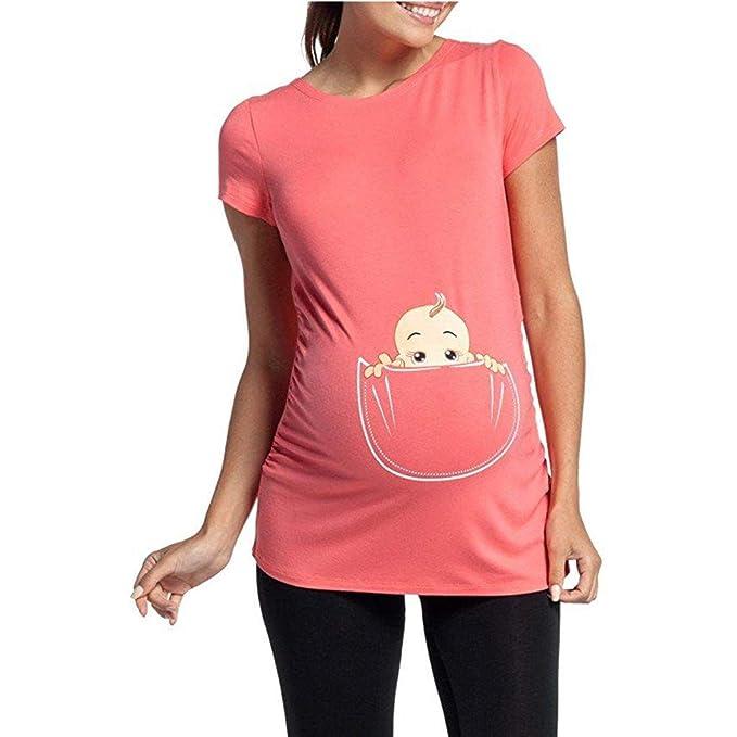 dcdc74db5 SamMoSon 2019 Camiseta Embarazada Divertida Ropa Lactancia Verano Sudadera  Mujer Vestido Verano Mujer