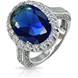 925 Sterling Silver Vintage Style Oval Royal Simulated Sapphire Engagement Ring