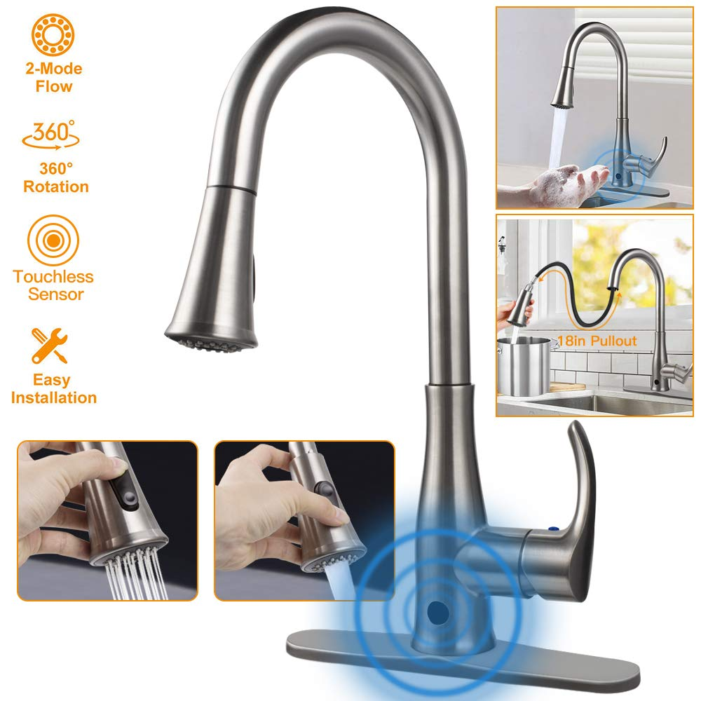 Touchless Kitchen Sink Faucets, Kitchen Faucets with Pull Down Sprayer,Motion Sense Wave Faucet High Arc Single-Handle Brushed Nickel 1or 3 Hole Deck Mount 2 Mode,Easy to Install,Spot Resist... by Atalawa