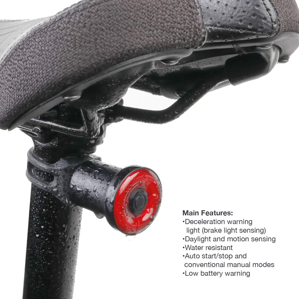 Smart Bicycle Taillight with Seatpost Mounting, Manual Switch or Automatic Daylight Motion Sensing with Deceleration Warning and Auto on Off, IPX6 Water Resistant with Durable Aluminum Case.
