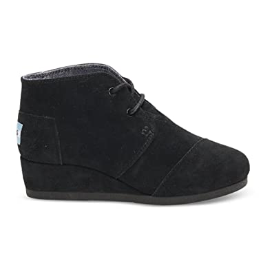 a5c17e623a9 TOMS New Desert Wedge Black Suede 2 Youth Shoes