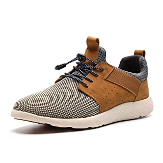 LANGBAO Men's Sneakers Fashion Slip-On Casual Shoes Lightweight Breathable Walking Shoe Comfortable Loafers 7036-1 Light Brown 12.5
