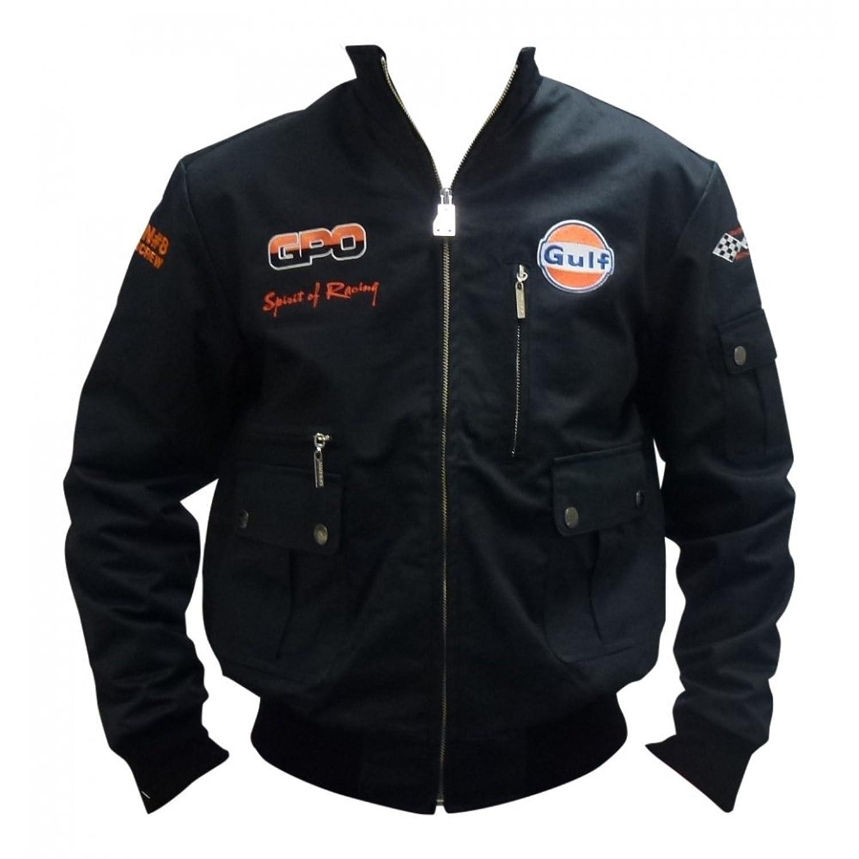 Grandprix Originals Gulf Black & Orange Corkscrew Blouson Jacket Mens
