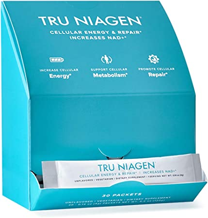 TRU NIAGEN NAD+ Booster Supplement Nicotinamide Riboside Powder NR for On-The-Go Energy & Cellular Repair, Healthy Aging Patented Formula More Efficient Than NMN - 30Ct - 300mg - Good Source of Fiber