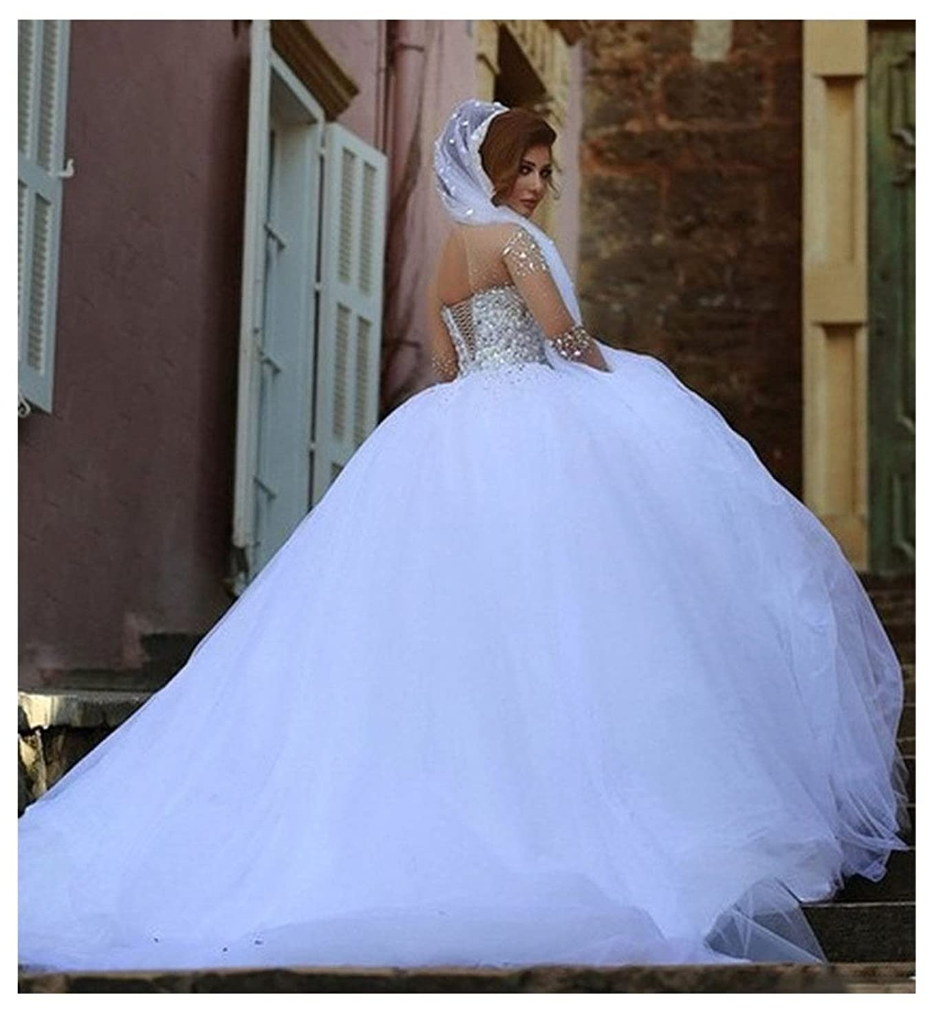 Beauty Bridal Crystal Beaded Long Sleeves Gorgeous Wedding Dresses ...