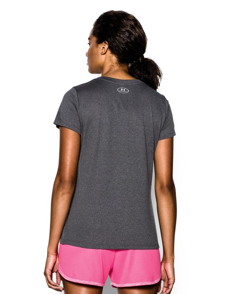 Under Armour Women's Tech V-Neck, Carbon Heather /Metallic Silver, Small by Under Armour (Image #2)