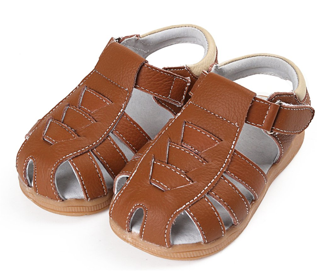 Girls Genuine Leather Outdoor Summer Flower Sandals Soft Closed Toe Princess Flat Shoes for Toddler/Little Kid (6.5M US Toddler, Genuine Leather Brown)