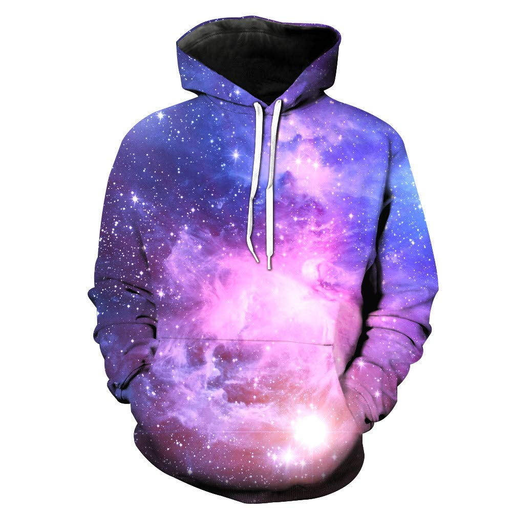 ShenPr Unisex Galaxy 3D Print Graphic Pockets Athletic Sweaters Pullovers Fashion Hoodies Sweatshirts