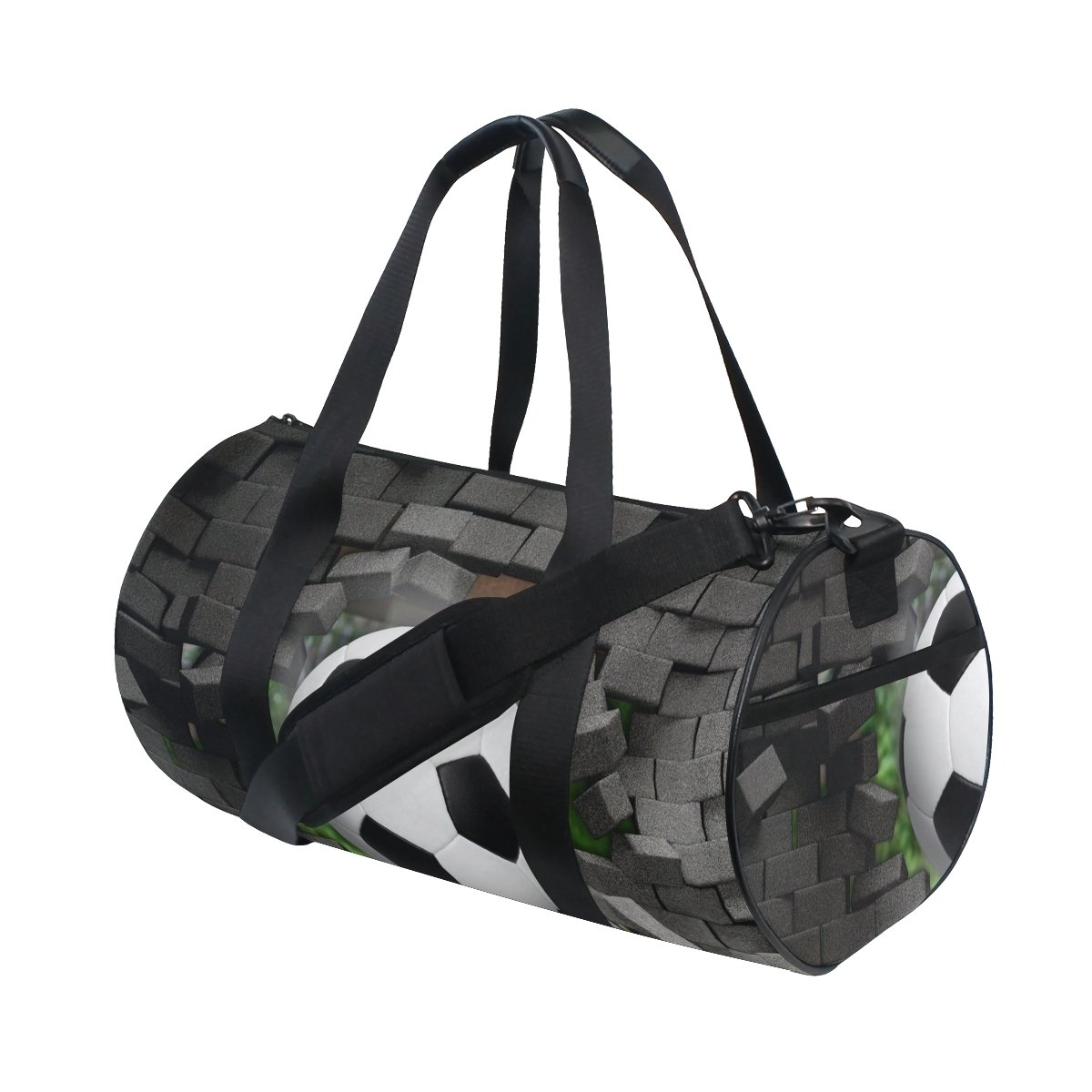 Naanle Soccer Broken Brick Wall Pattern Ameican Football Gym bag Sports Travel Duffle Bags for Men Women Boys Girls Kids