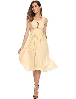 Meaneor Damen Chiffon Rückenfrei A-Linie Brautjungfer Kleid Elegant  Ärmellos Wadenlang Ballkleid Partykleid Cocktailkleid 282fc91a53