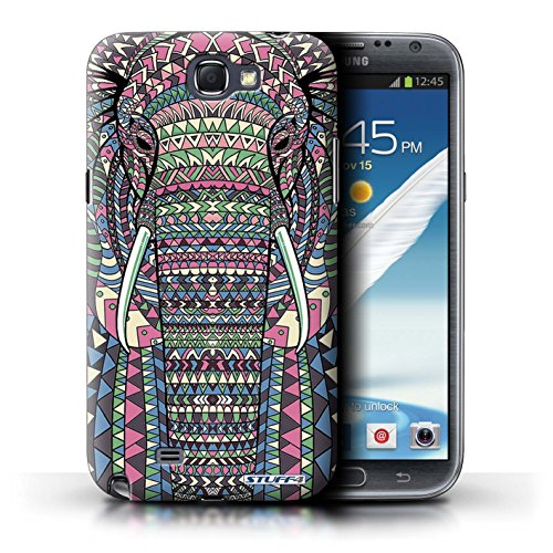 STUFF4 Phone Case / Cover for Samsung Galaxy Note 2 / Elephant-Colour Design / Aztec Animal Design Collection