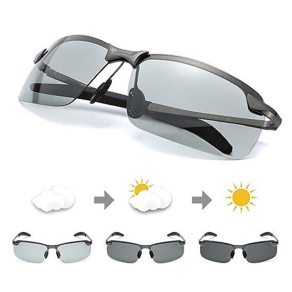 67aa1794d7 TJUTR Gafas de Sol Hombre Rectangulares Photochromic Polarizadas Lentes  Grises Antideslumbrante -100% Protección UVA